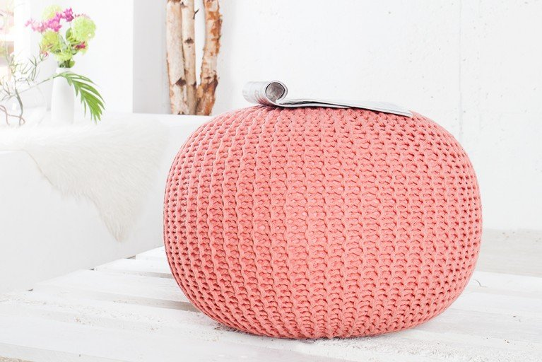 Design Strick Pouf LEEDS koralle 50cm Hocker Baumwolle in Handarbeit