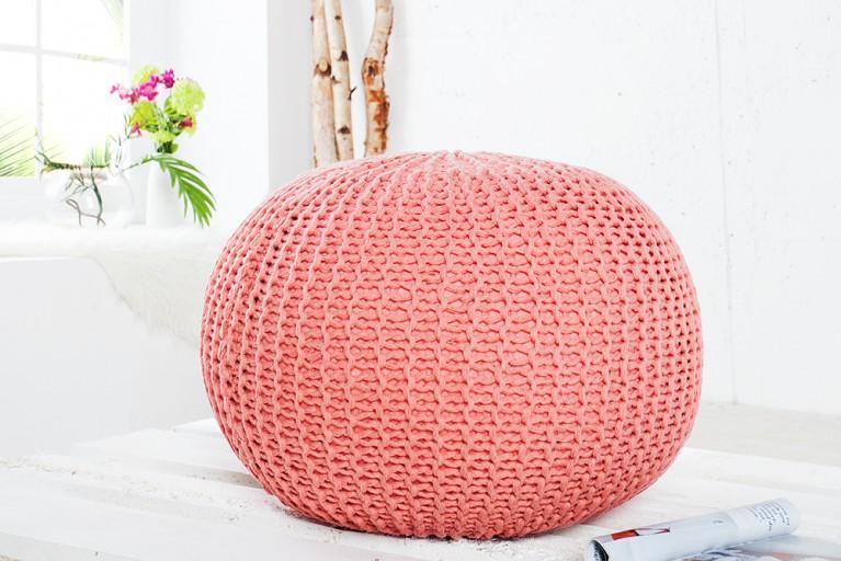 Design Strick Pouf LEEDS koralle 50cm Hocker Baumwolle in Handarbeit Sitzkissen