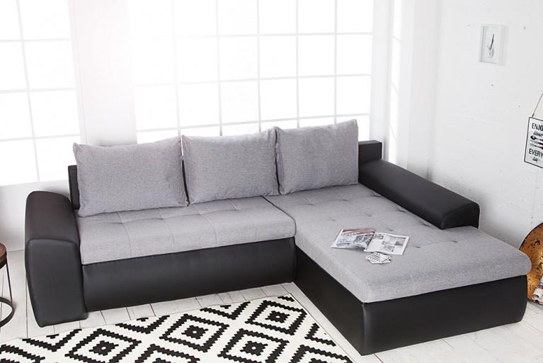 Design Ecksofa VERMONT schwarz Strukturstoff Leinen anthrazit inkl. Kissen, Bettkasten Bettfunktion OT rechts