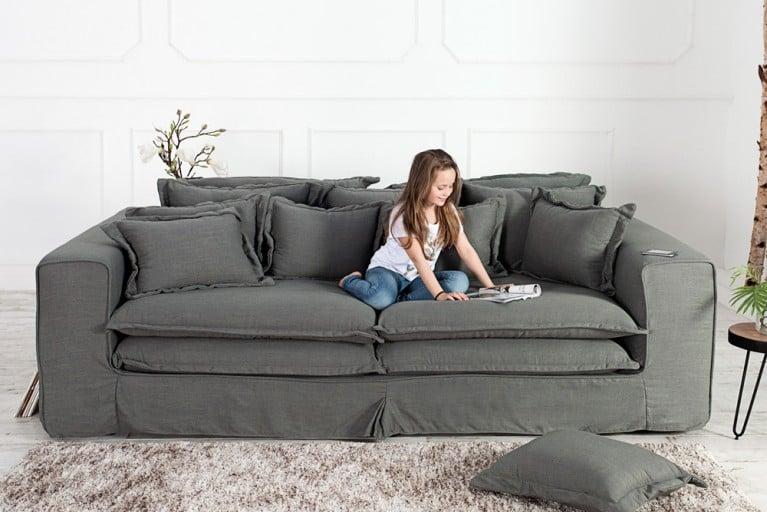 Xxl wohnlandschaft sultan weiss strukturstoff grau couch for Wohnlandschaft 370 cm