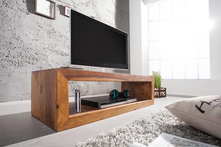 Massives Design TV-Board CUBE Sheesham Honey Finish 100cm Couchtisch Lowboard