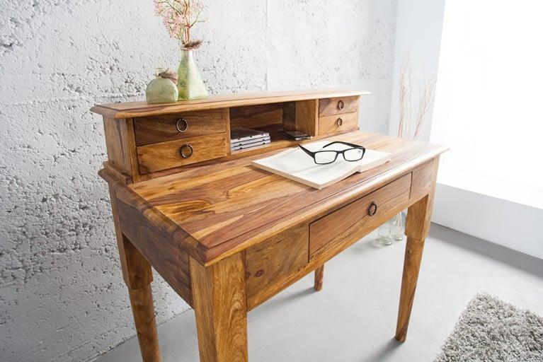Exklusiver Sekretär HEMINGWAY M Sheesham Stone Finish Massivholz 90 cm Schreibtisch