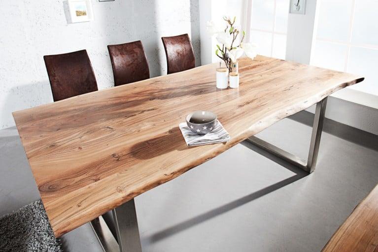 Massiver Baumstamm Tisch MAMMUT  180cm Akazie Massivholz Industrial Chic Kufengestell Edelstahl mit  3,5cm dicker Tischplatte