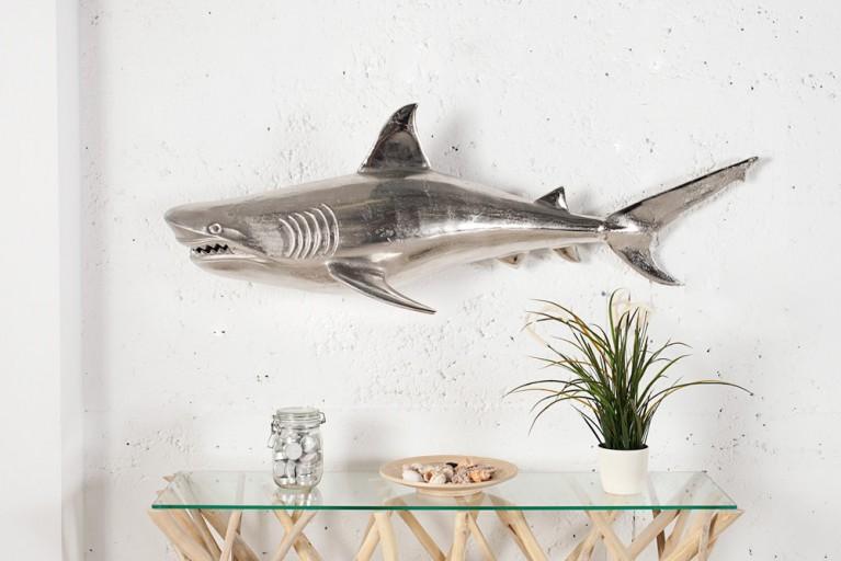 Wanddekoration großer Hai aus Metall - Aluminium - Legierung 105cm/ links