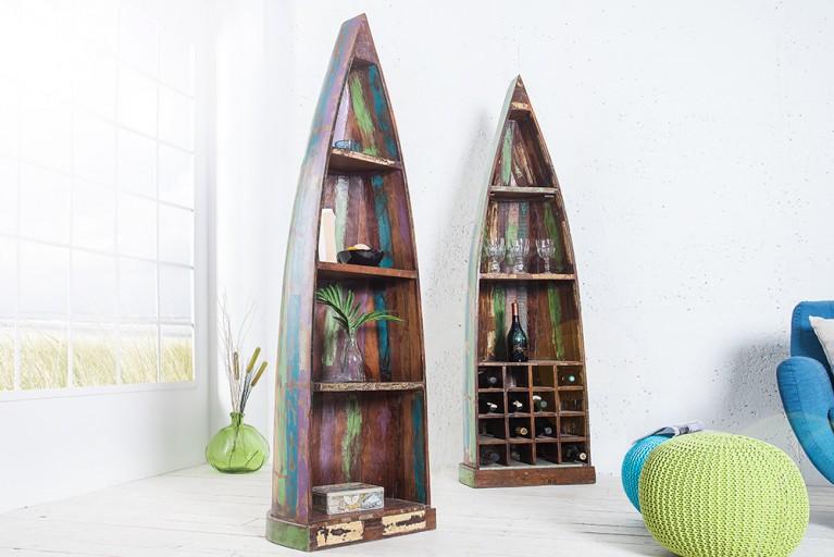 Einzigartiges Bootsregal BORNEO 190 cm bunt aus recyceltem Holz Bücherregal
