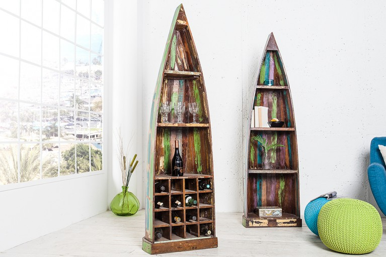 Einzigartiges Bootsregal BORNEO 190 cm bunt aus recyceltem Holz Weinregal