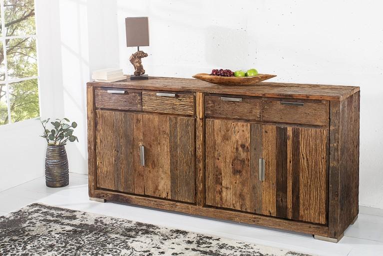 Massives Sideboard BARRACUDA antik 170cm aus recyceltem Teak Holz