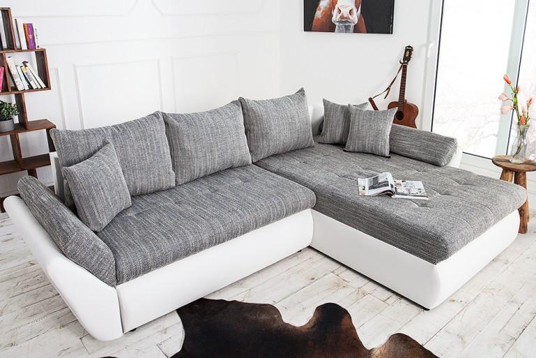 Design Ecksofa RODEO weiss Strukturstoff grau mit Schlaffunktion
