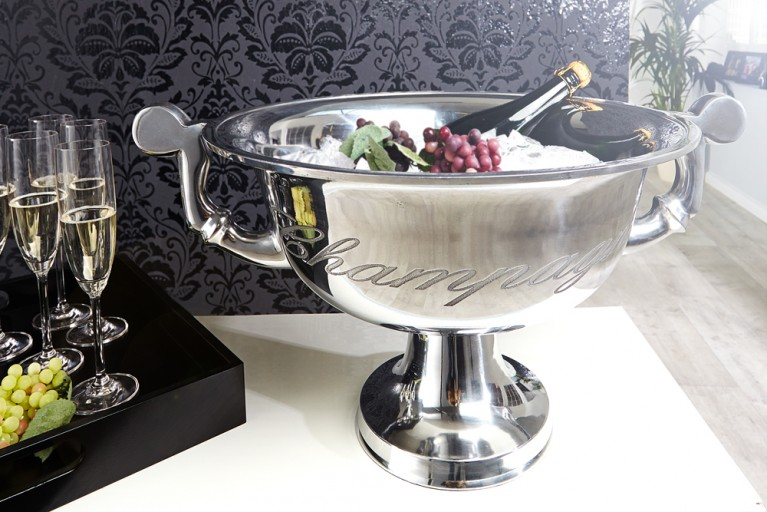 Eleganter Design Champagner-Kühler CHAMPAGNE 40cm Metall-Aluminium-Legierung poliert