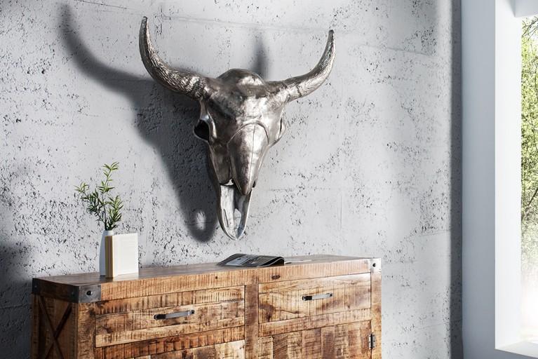 Riesiger MATADOR Deko Schädel 100 cm silber hochwertige Metall Alu Legierung