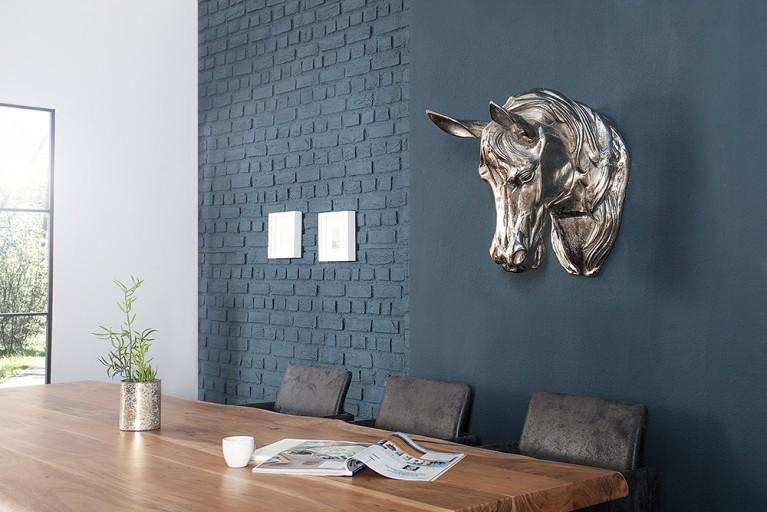 Exklusive Pferdekopf Skulptur 45 cm in hochwertiger Aluminium Metall Legierung Silber Wanddekoration