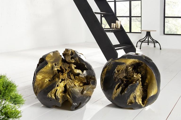 Wunderschöne aufwendig geschliffene Teak Holz Wurzel ROOT im 2er Set black Gold Edition