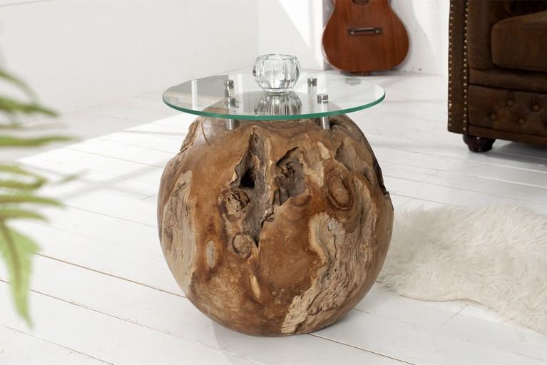 Aufwendig geschliffener Couchtisch ROOT Teakholz Wurzel Beistelltisch rund mit Glasplatte