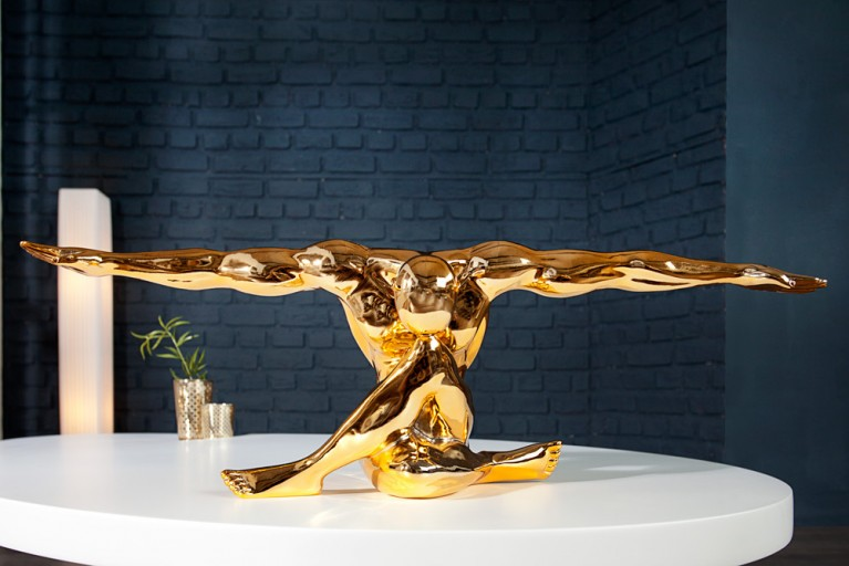 Statue Muskel Athlet BOLT Goldoptik 65cm Sportler Pose