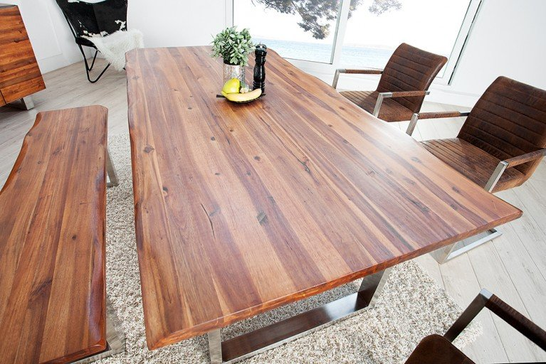 Massiver Baumstamm Tisch GENESIS 200cm Akazie Massivholz Baumkante Esstisch mit Kufengestell aus Edelstahl