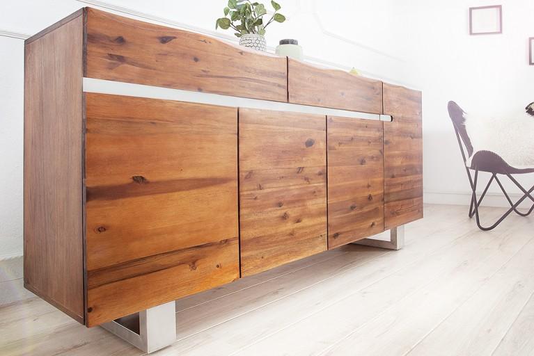 Massives Sideboard GENESIS 170cm Akazie Massivholz mit Baumkante und Kufengestell aus Edelstahl