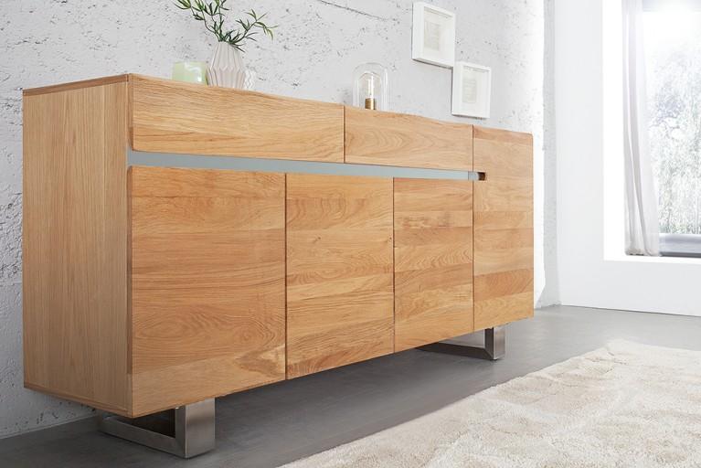 Massives Sideboard GENESIS 170cm Eiche Massivholz mit Baumkante und Kufengestell aus Edelstahl