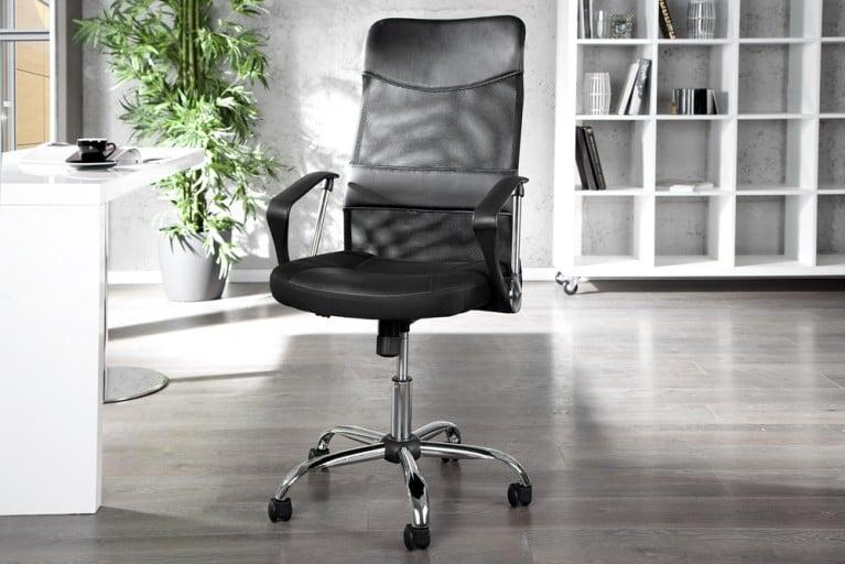 Moderner Design Bürostuhl COMMANDER schwarz Chefsessel in Meshoptik