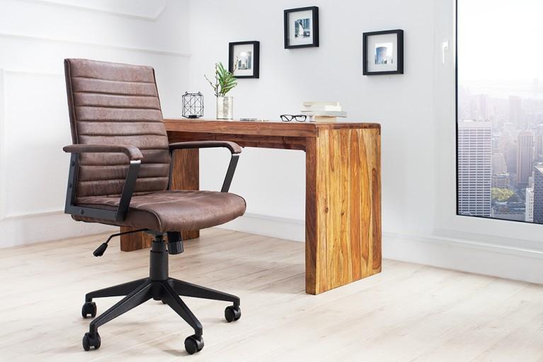 Moderner Design Bürostuhl LAZIO Microfaser vintage braun Chefsessel mit Armlehnen