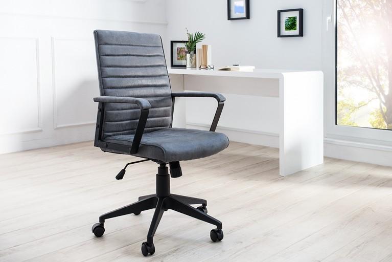 Moderner Design Bürostuhl LAZIO Microfaser vintage grau Chefsessel mit Armlehnen