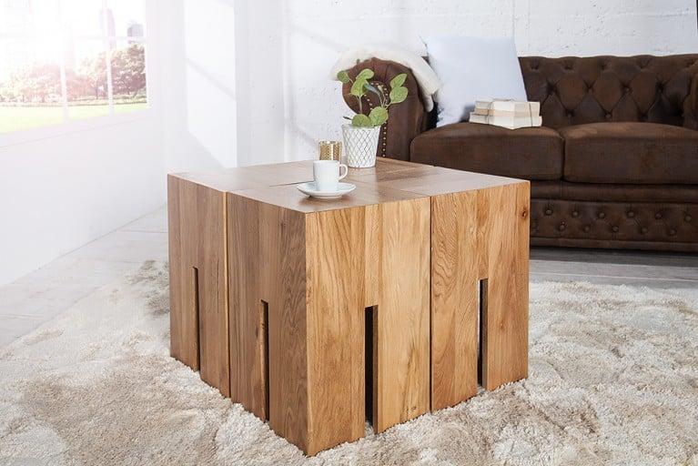 Massiver Hocker CASTLE 45 cm WILD Eiche natur geölt Massivholz