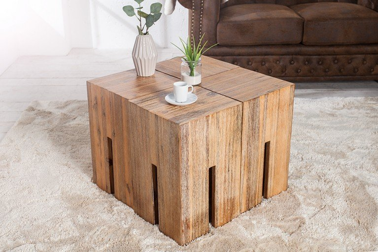 Massiver Hocker CASTLE 45cm Akazie gebürstet Wild Teak Finish Massivholz