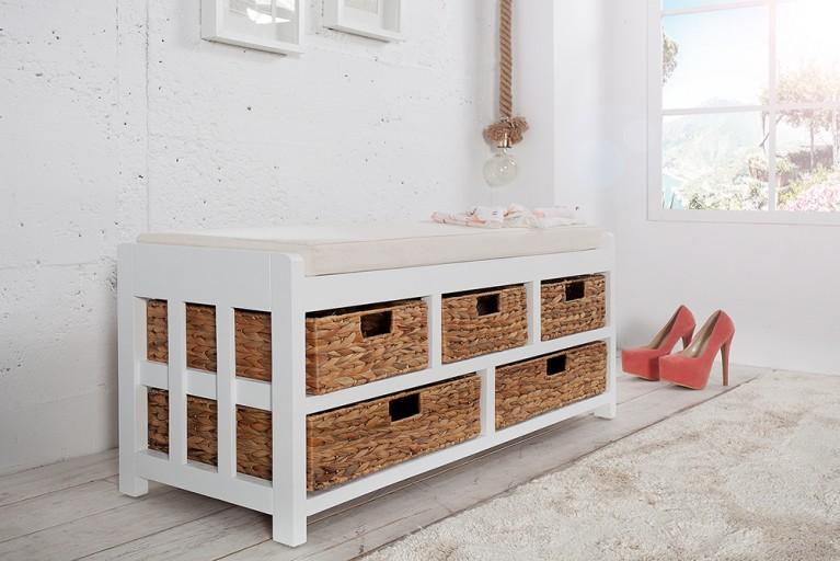 Design Sitzbank SCANDINAVIA weiß Akazie mit 5 Aufbewahrungsmöglichkeiten