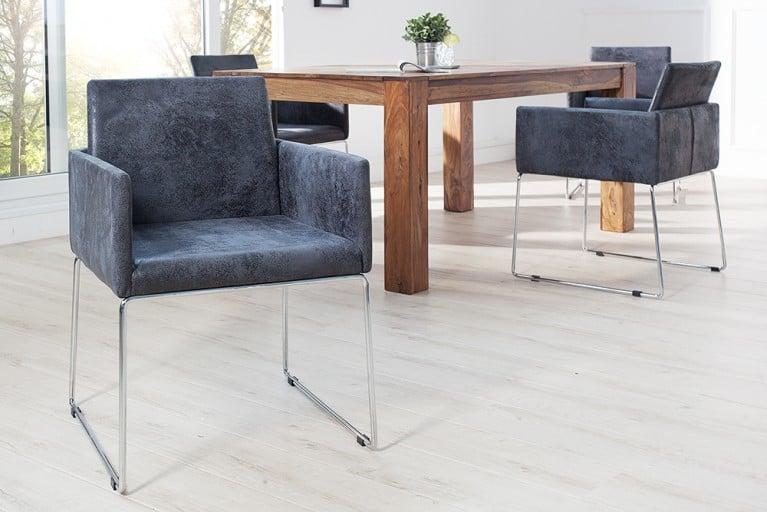 Eleganter Design Stuhl LIVORNO antik grau Microfaser mit Armlehnen