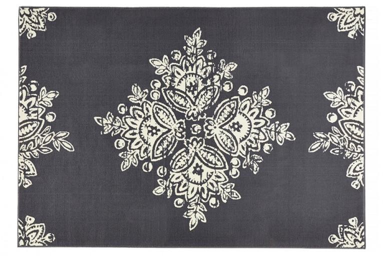Eleganter Design Teppich GOTIK 160x230cm Grau Creme Blütenmuster