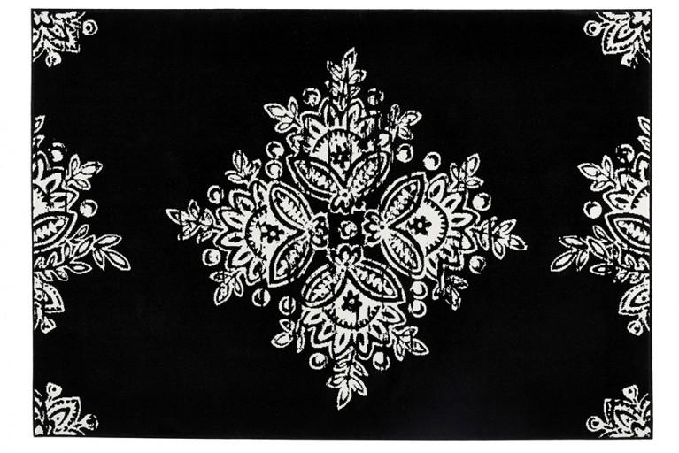 Eleganter Design Teppich GOTIK 160x230cm schwarz Creme Blütenmuster
