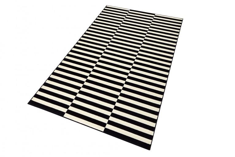 Dekorativer Design Teppich MARITIM 160x230cm Paneeloptik Schwarz Creme