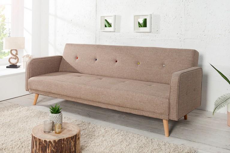 Design Schlafsofa SCANDINAVIA beige mit bunten Knöpfen 200cm