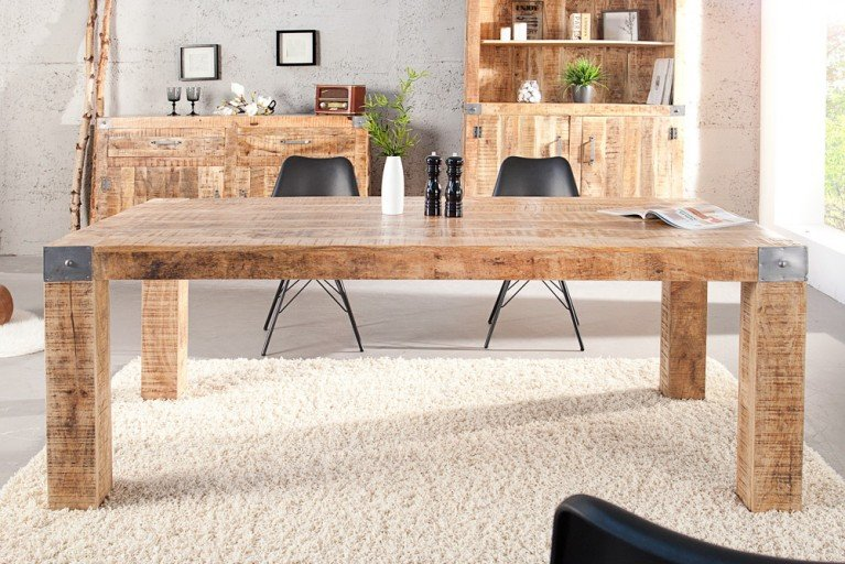 Massiver Tisch RANCHO 200cm Mango Holz im Industrial Shabby Chic