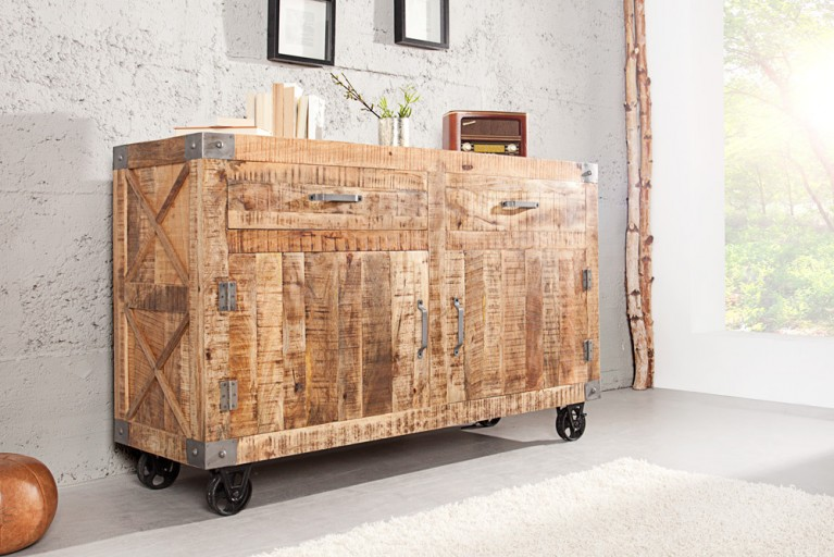 Massives Sideboard RANCHO 160cm Mango Holz Kommode im Industrial Shabby Chic