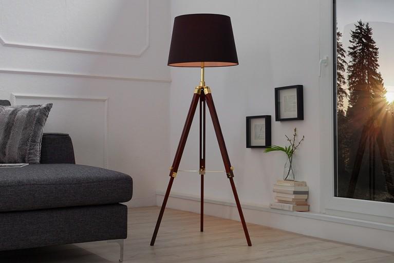 Elegante Design Stehlampe SYLT 90 - 140 cm dunkelbrauner Lampenschirm höhenverstellbare Stehleuchte Holz Dreibein