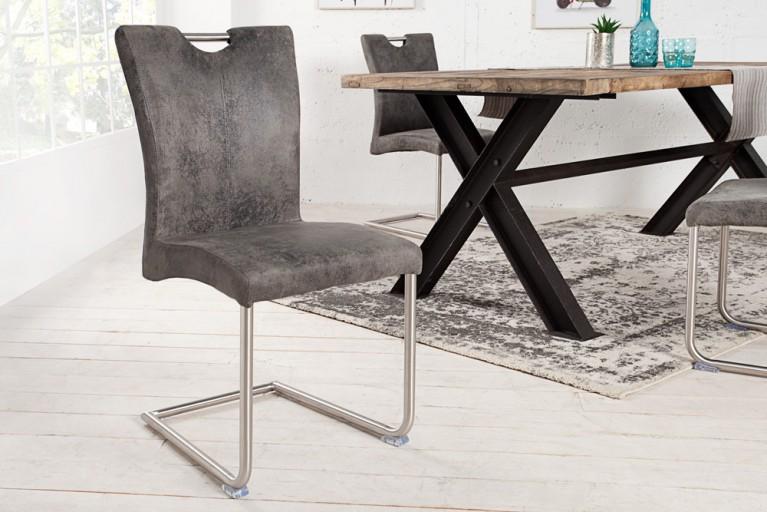 Freischwinger Stuhl BUFFALO Vintage grau mit Edelstahlgestell