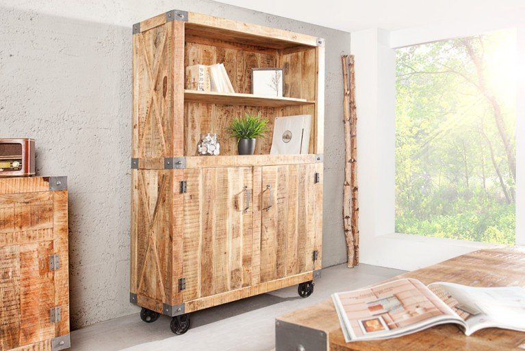 Massives Highboard RANCHO 200cm im Industrial Shabby Look Mango Holz