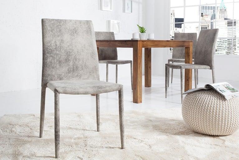 Exklusiver Design Stuhl MILANO Antik Grau stapelbar