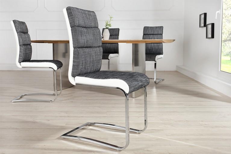 Design Freischwinger Stuhl WELLNESS Strukturstoff anthrazit weiß Flachstahl