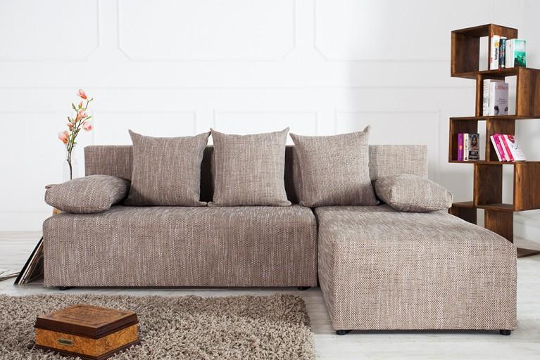 Design Ecksofa CUBUS Strukturstoff cappucchino braun mit Schlaffunktion und Bettkasten