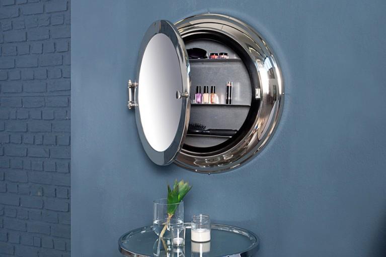 Großer Spiegel BULLAUGE maritim mit Geheimfach hochwertige Metall Aluminium Legierung