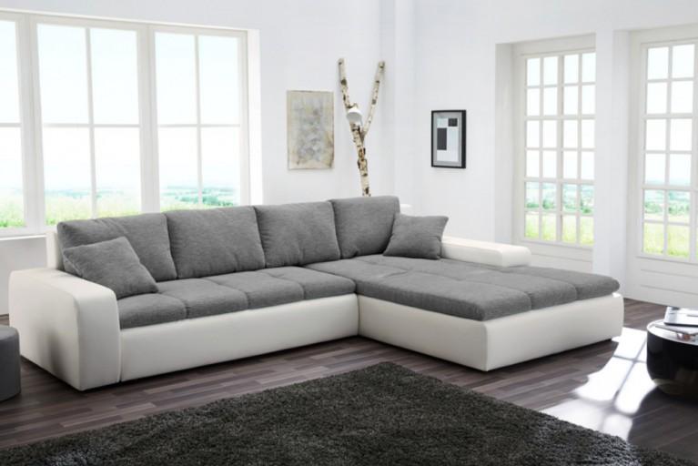 Moderne Wohnlandschaft VENICE mit Schlaffunktion grau weiß mit Bettkasten