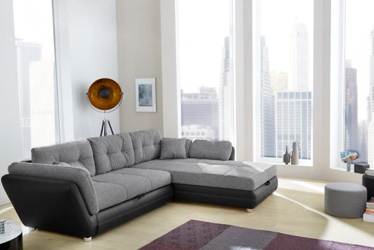 Moderne Wohnlandschaft VICE  mit Schlaffunktion grau schwarz mit Bettkasten