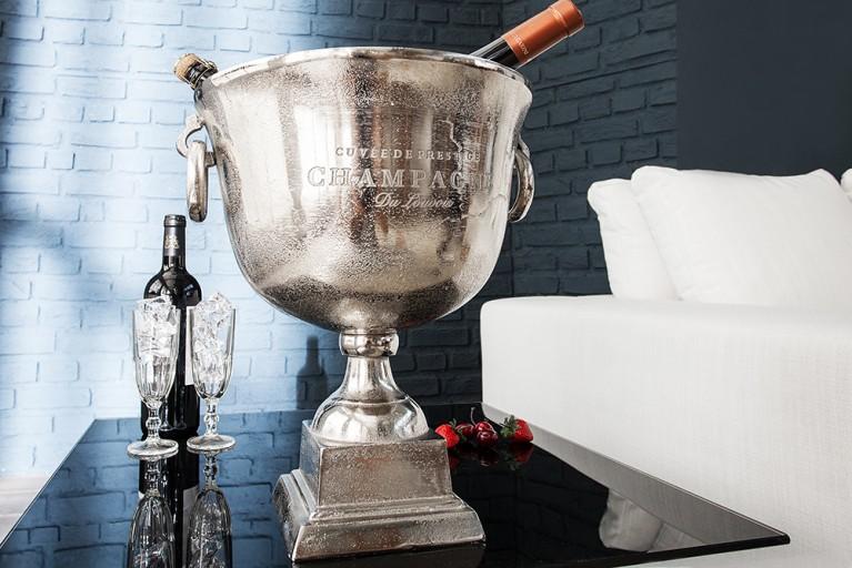eleganter Champagner Kühler ROYAL 40cm Metall - Aluminium - Legierung poliert
