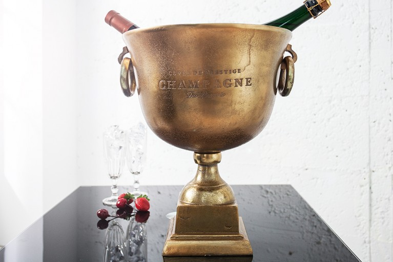 Eleganter Champagner Kühler ROYAL 40cm Metall - Aluminium - Legierung Goldoptik