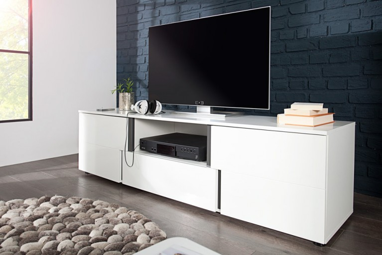 Modernes Design Lowboard ARCTIC 165cm weiß Hochglanzfront TV Board