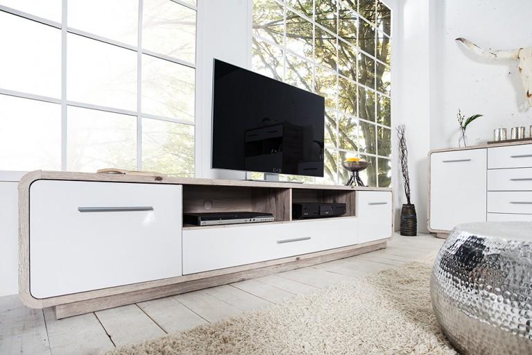 Modernes Design Lowboard BALTIMORE 235cm Hochglanz weiss lackiert Sandeiche