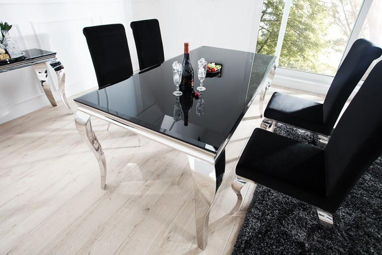 Monumentaler Esstisch MODERN BAROCK  silber 180 cm Tischbeine aus poliertem Edelstahl mit Opalglas