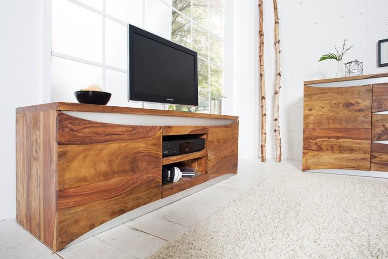 Modernes TV-Board ELEMENTS  145cm Symbiose massives Palisander Sheesham mit Edelstahlfront