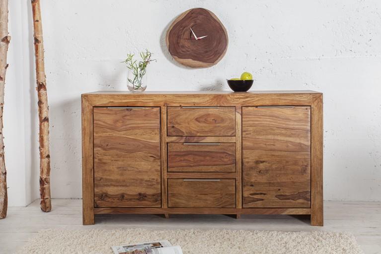 Design Holz Wanduhr aus einer  Baumscheibe MAMMUT Durchmesser 32cm Sheesham Massivholz